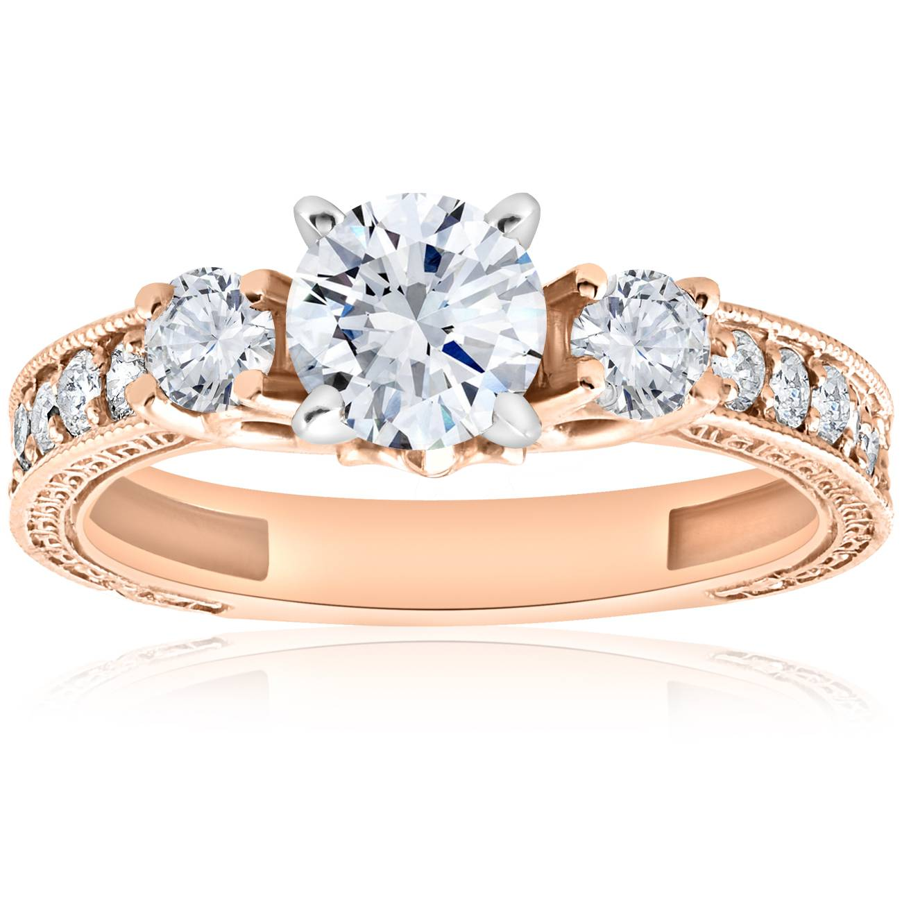 1 ct Vintage Real Diamond 3 Stone Engagement Ring 14K Rose Gold Antique Round Cut by Pompeii3