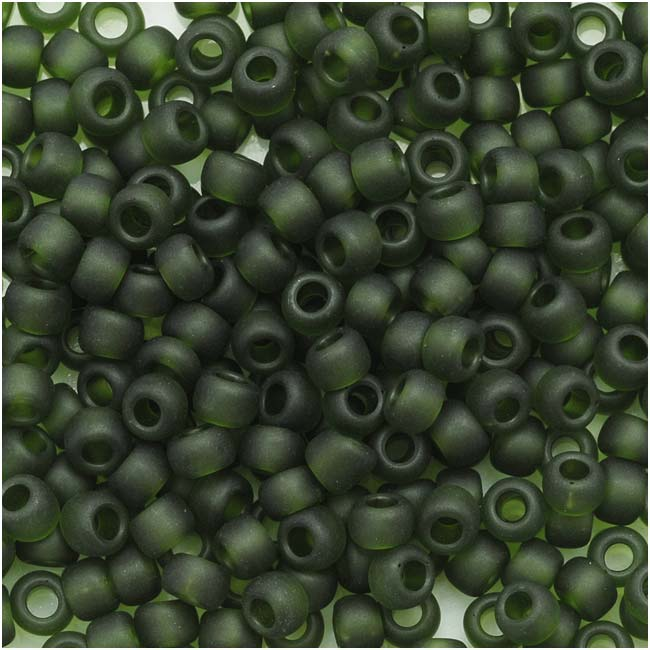 Toho Round Seed Beads 8/0 #940F 'Transparent Frosted Olivine' 8 Gram Tube