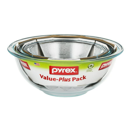 Pyrex Value-Plus Pack Glass Bowls - 3 Piece, 3.0 PIECE(S)