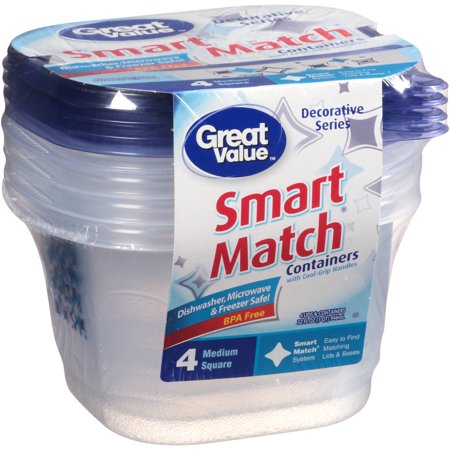 Great Value Smart Match Medium Square Containers  8 Pc