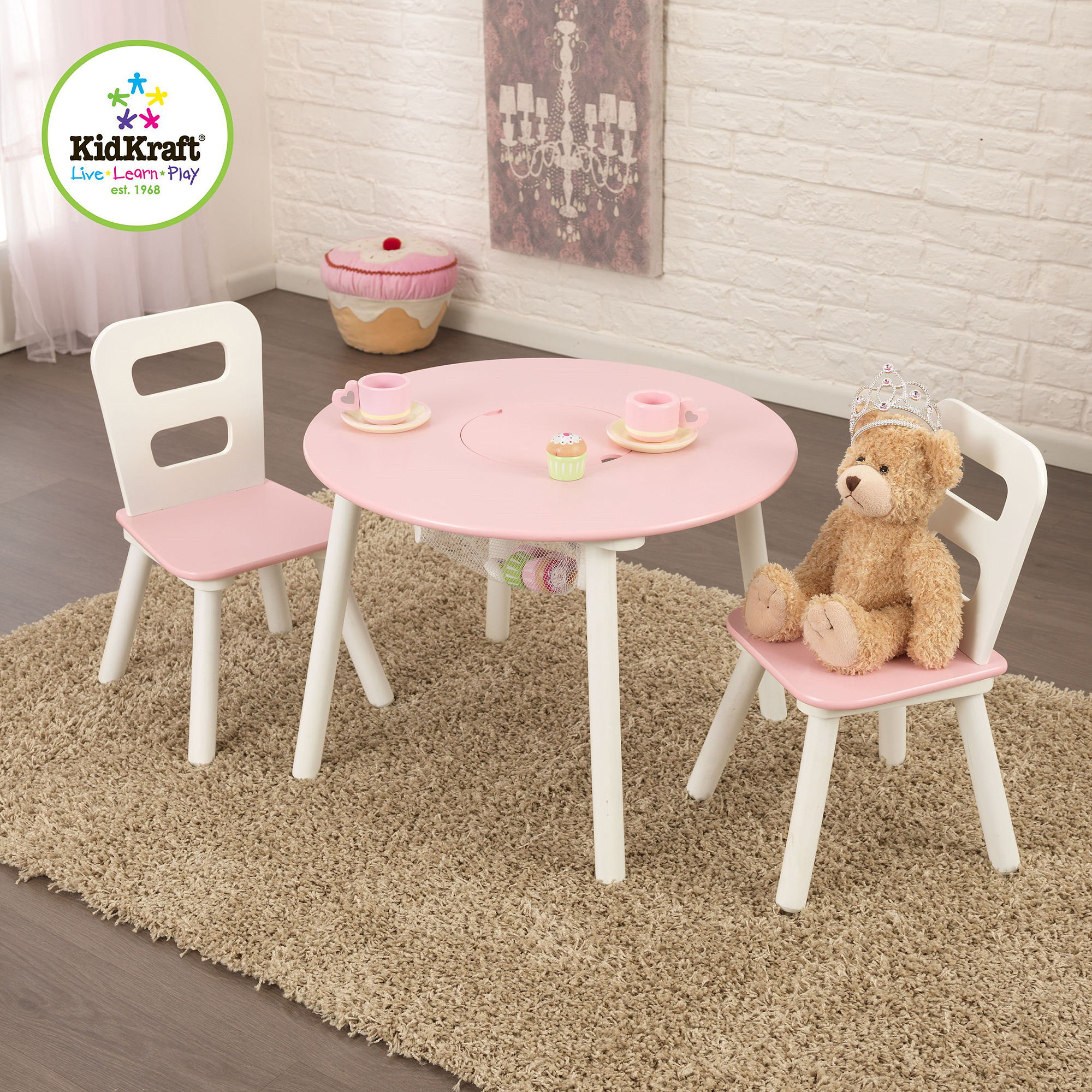KidKraft Round Storage Table and 2 Chairs Set, White/Pink
