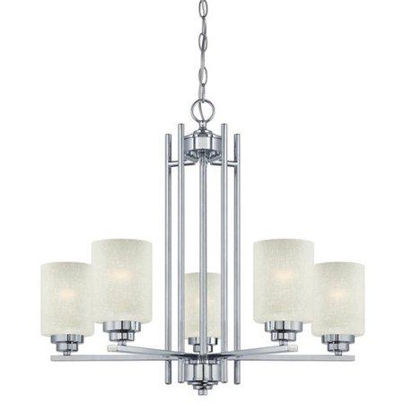 Westinghouse 63441B Hansen Five Light Indoor Chandelier, Chrome with White Linen Glass