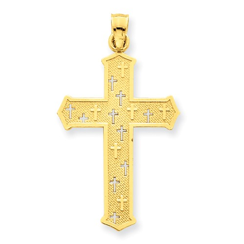 14k Yellow Gold Passion Cross Pendant