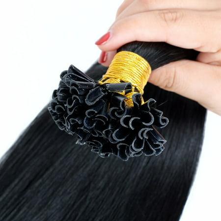BHF Hair Fusion Hair Extensions 100% Brazilian Virgin Remy Hair Straight Stick U Tip 1G/S 100g/Pack 1Pack 1# Jet Black