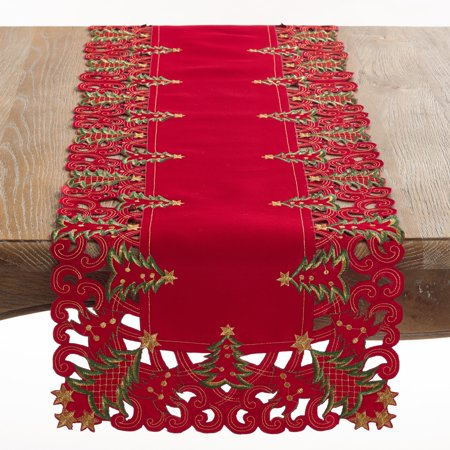 Fennco Styles Pandora Collection Holiday Christmas Tree Tablecloth - 2 Colors (Red, 16