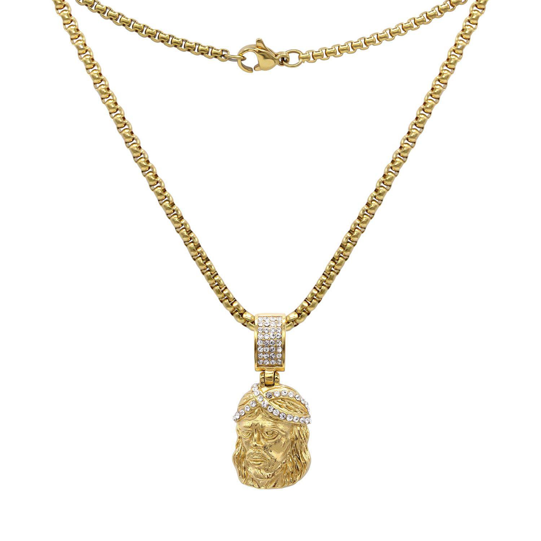 "Box Cuban Link Chain Necklace Hip Hop Gold Last Supper Pendant /& 24/"" Rope"