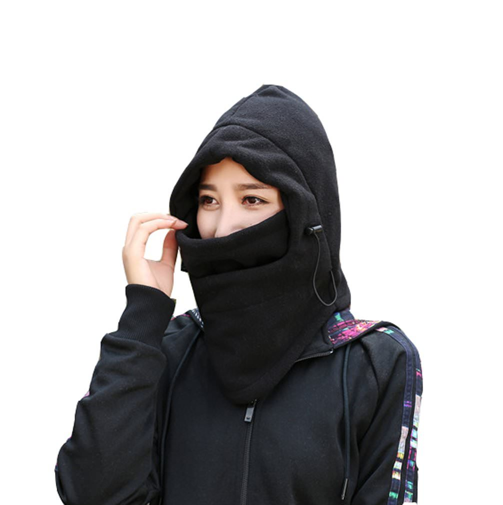Adjustable Fleece Windproof Ski Face Mask Balaclavas Hood - black