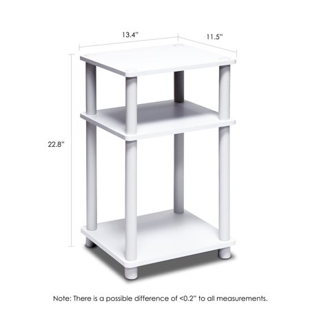 Furinno Just 3-Tier No Tools Tube End Table, White/Espresso/White