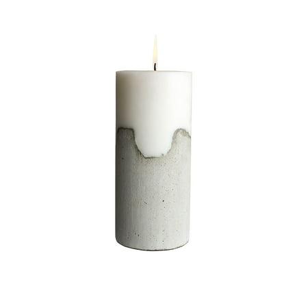 Design Ideas Pylon Pillar Candle, Gray Cement and White Paraffin Wax Column Candle, 4