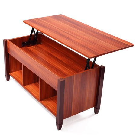 Lift Top Convertible Coffee Table Solid Wood Desk Storage Compartment And Tabletop