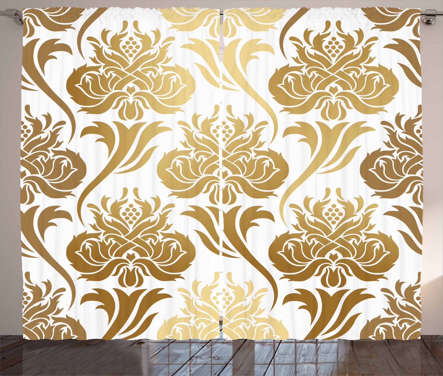 Gold And White Curtains 2 Panels Set Damask Ombre Abstract Image