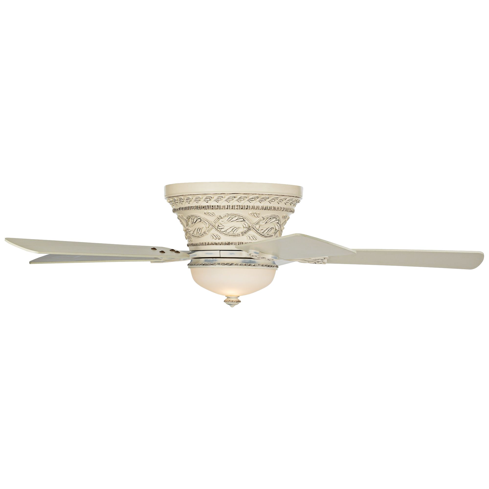 52 Casa Vieja Chic Cottage Hugger Ceiling Fan With Light Wall Control Flush Mount Rubbed White For Living Room Kitchen Bedroom