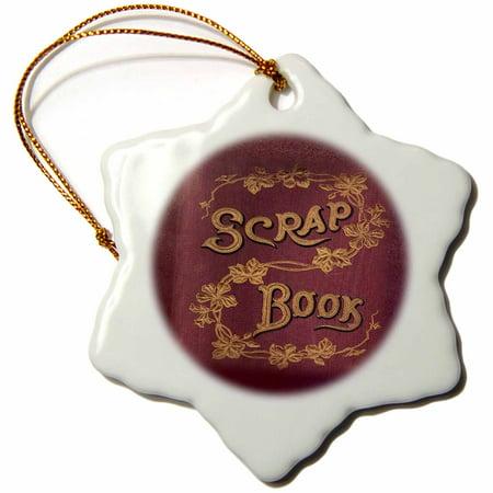 3dRose Merlot Color Scrapbook - Snowflake Ornament, 3-inch