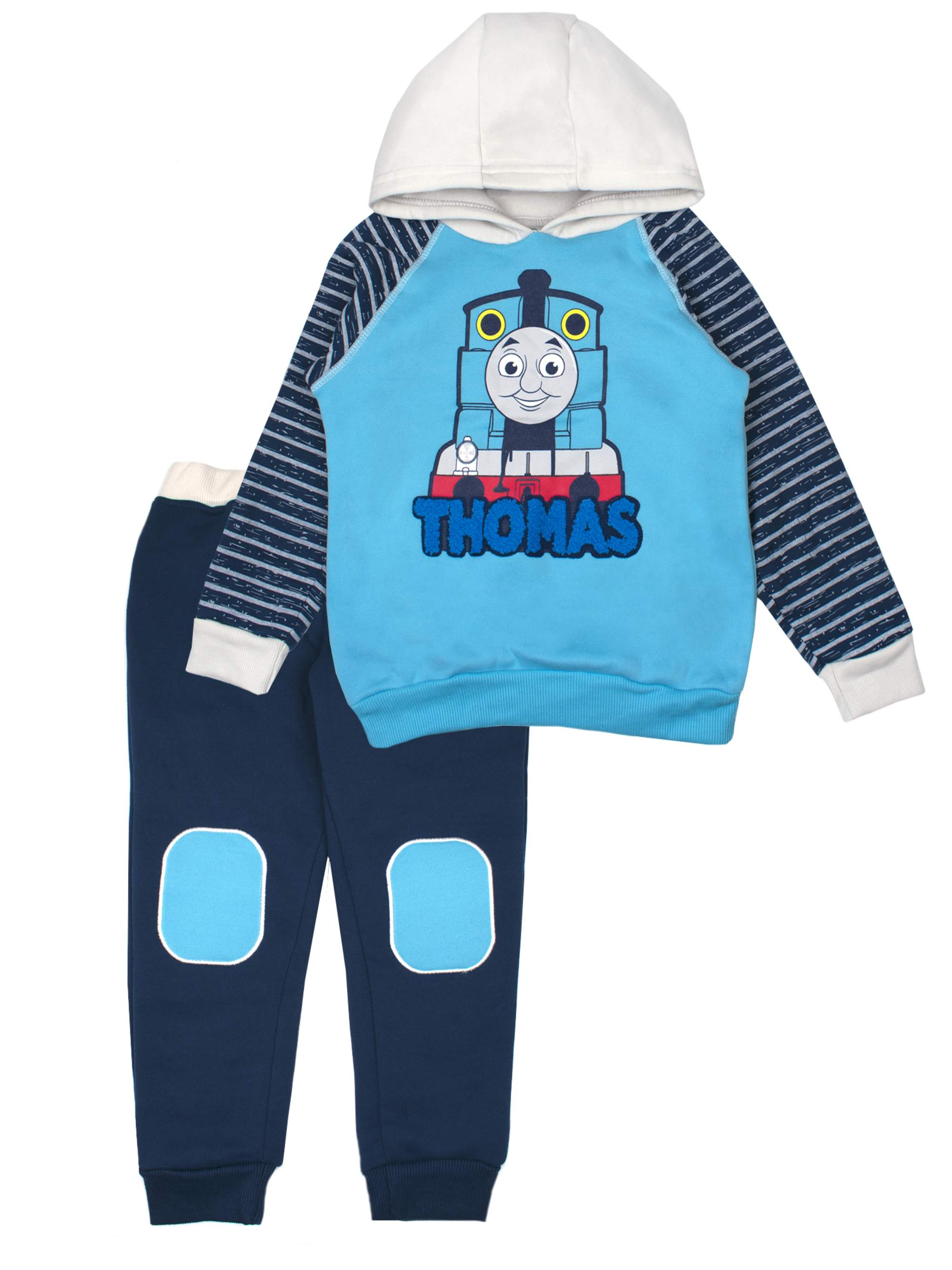 Pullover Hoodie Sweatshirt & Knee Patch Jogger Pants, 2pc Outfit Set (Toddler Boys)