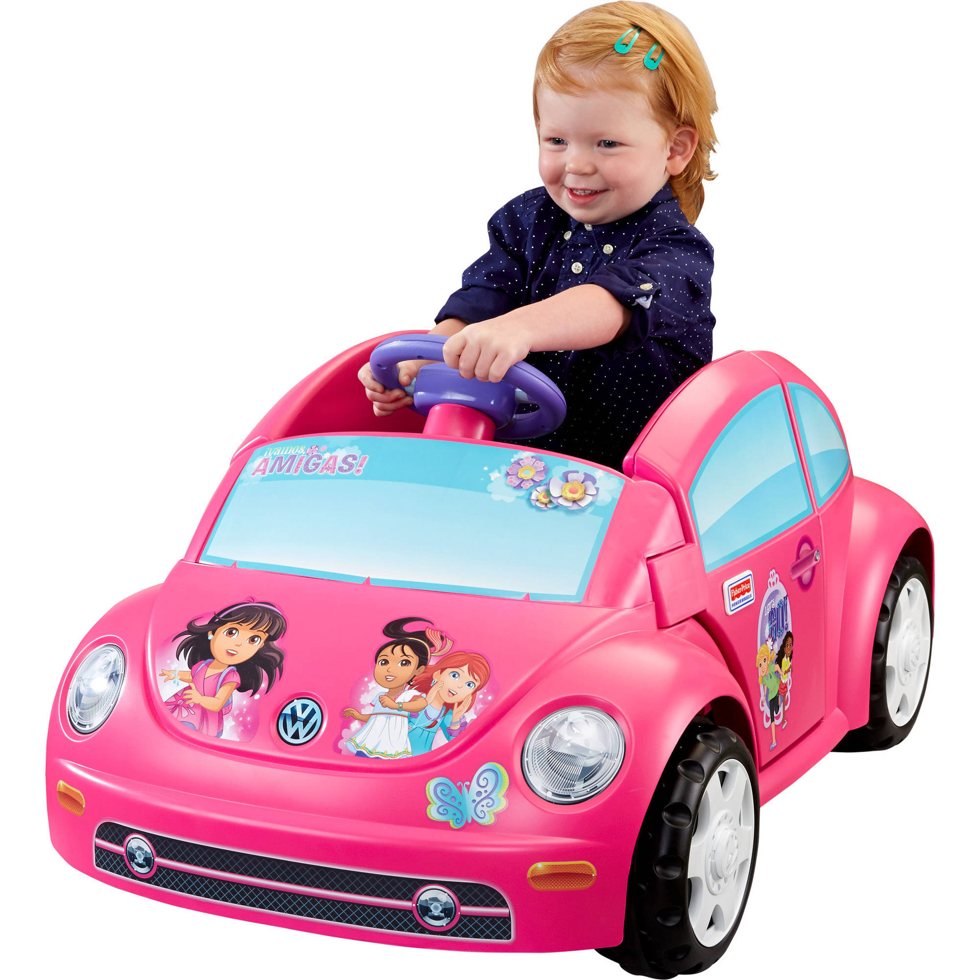 Fisher-Price Power Wheels Dora and Friends Volkswagen New Beetle 6V Battery-Powered Ride-On