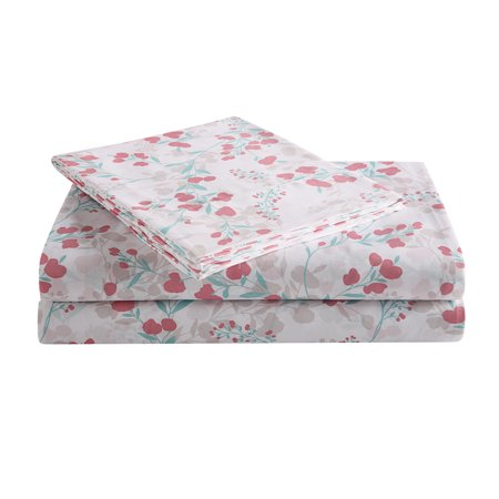 Peach & Oak, (4) Piece Queen Sheet Set - Flower Vine Print - 100% Polyester (Microfiber)