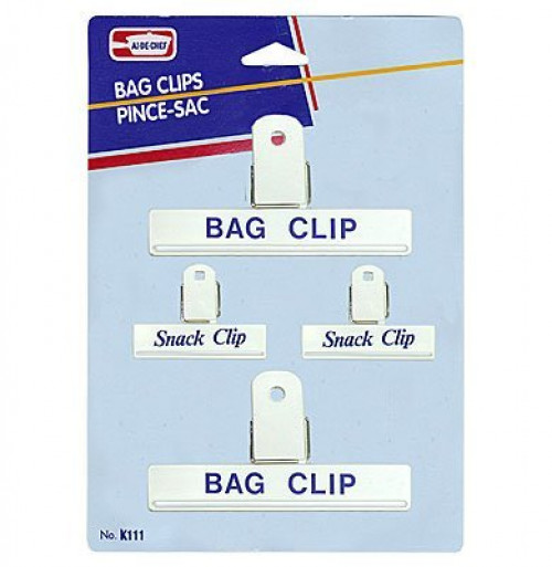 Image of White Bag Clips 2 Large and 2 Small