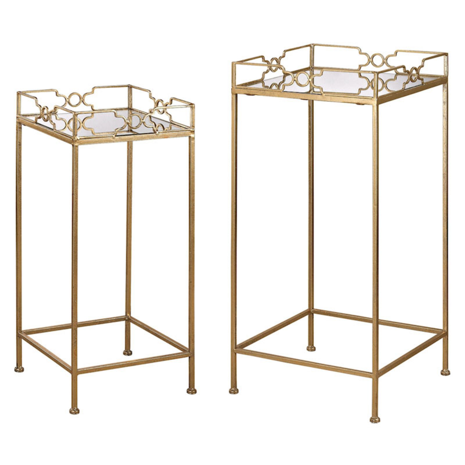 Sterling 2 Piece Bow Tie Mirrored End Table Set