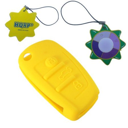 HQRP Key Fob for Audi A3 A4 A4L A5 A6 A6L A8 Yellow Folding Flip Case Shell Remote Protective Cover + HQRP UV Meter