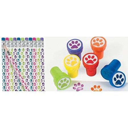 24 Pc Paw Party Favors -Paw Print Pencils and Paw Print Stampers Lot, 12 pc BRIGHT print paw pencils in assorted colors By happy - Deals Party Store