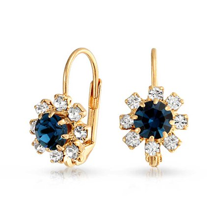 Navy Blue and White Crystal Flower 18k Gold Plated Brass Leverback Drop Earrings For Women Simulated Sapphire