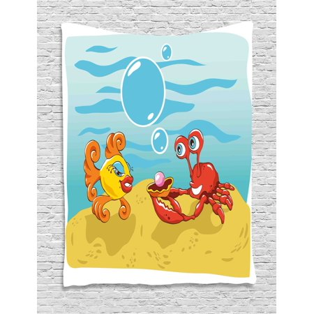 Engagement Party Decorations Tapestry, Under the Sea Cartoon Fish and Crab with Sand Pearl, Wall Hanging for Bedroom Living Room Dorm Decor, 60W X 80L Inches, Yellow Red and Blue, - Under The Sea Room Decorations
