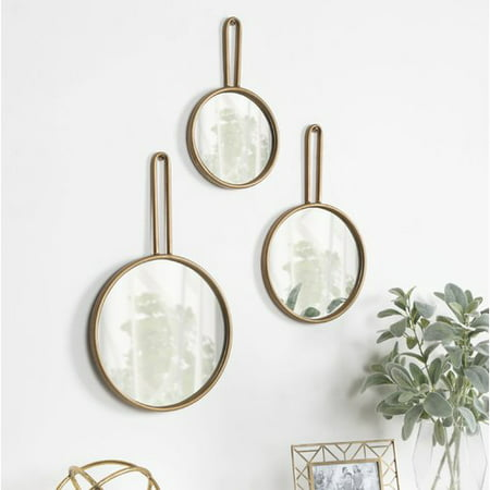 Kate and Laurel Varela 3 Piece Decorative Round Mirror Set