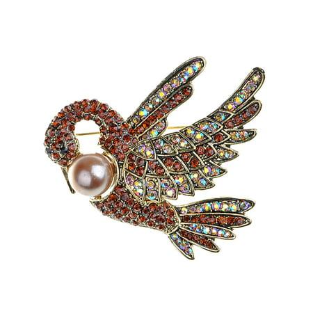 Feinuhan Light Ruby Siam Crystal Rhinestone Golden Tone Faux Pearl Swan Bird Pin Brooch