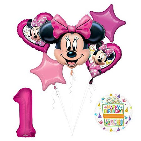 NEW Minnie Mouse 1st First Birthday Party Supplies Balloon Bouquet Decorations](Minnie Mouse 1st Birthday Decorations)