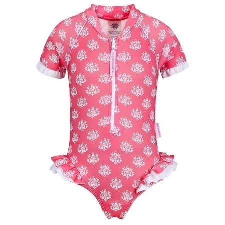 Indian Coral (Sun Emporium Little Girls Coral Indian Damask Print Frill Swimsuit )