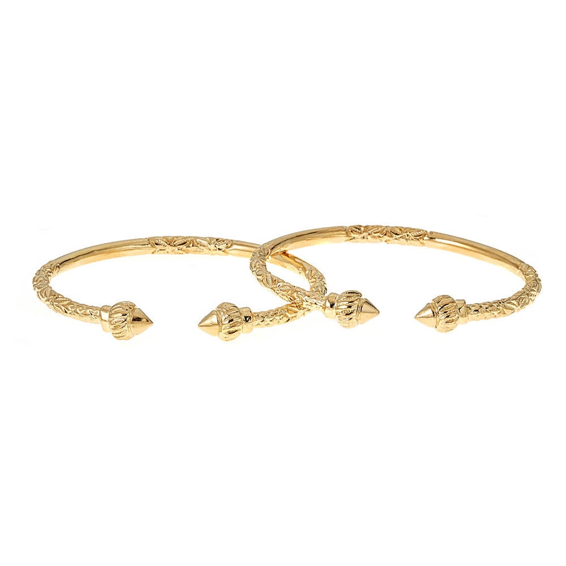 Solid Sterling Silver West-Indian Bangle Set Plated with 14K Gold