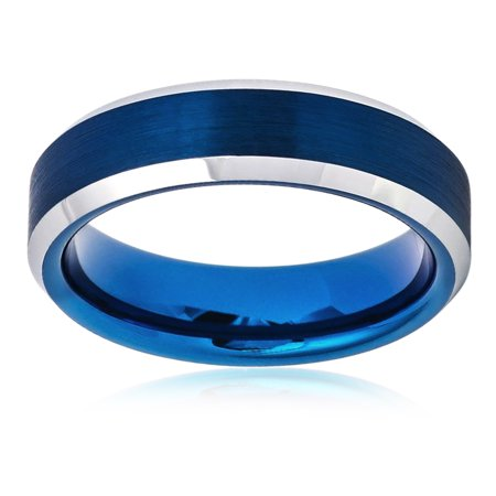 Men Women Tungsten Carbide Wedding Band Ring 6mm Comfort Fit High Polish Beveled Edge Brushed Blue Tone Tungsten Ring