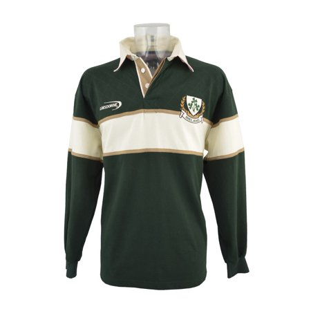 - Bottle Green Ireland 3 Shamorck Crest Long Sleeve Rugby Shirt