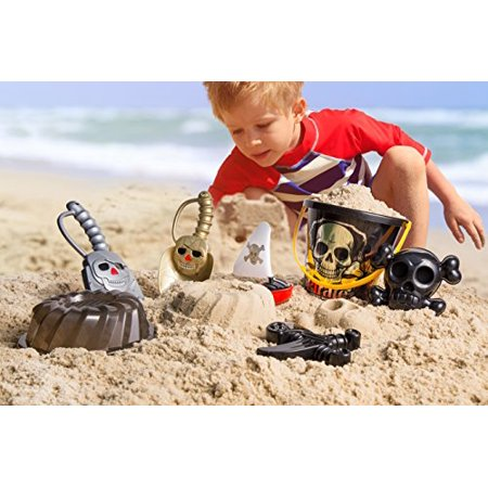 Top Race Pirate Sand Toys Beach Set with Large Pirate Pail Bucket - 7 Piece - image 2 of 3