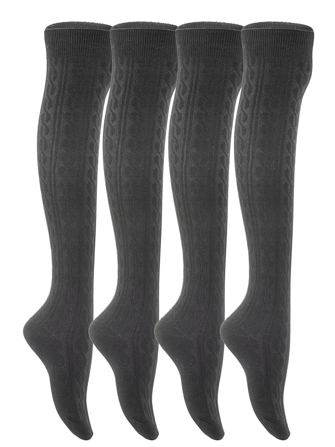 Lian LifeStyle Big Girls' 4 Pairs Over Knee High Cotton Boot Socks JMYP1024 Size L/XL(Black,Dark Grey,Grey,Cream White)