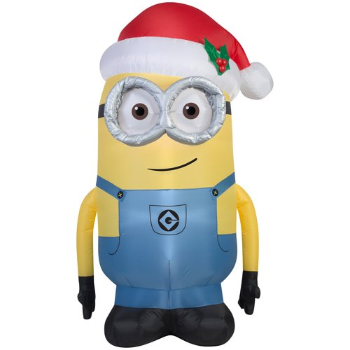 5' Airblown Inflatable Minion Dave with Santa Hat Universal ...