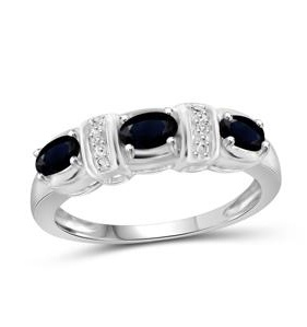 1 Carat T.G.W. Sapphire and White Diamond Accent Sterling Silver Fashion Ring - 8