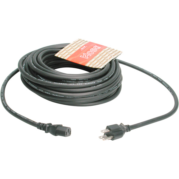 Hosa Pwc-408 Power Extension Cable - 125v Ac - 15a - 8ft - Black (pwc408)