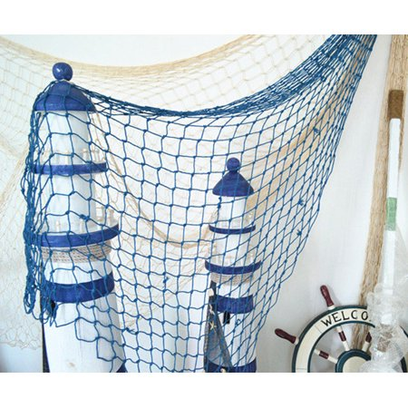 Mediterranean Decorative Nautical Fish Net,Fishing Net Decor, Ocean Beach Style Room Decor For Fish Themed Party Bathroom Bedroom Dorm (Theme Beach)