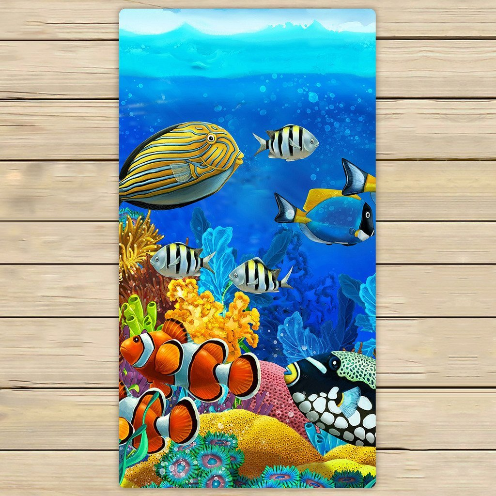 GCKG Sea Seabed Fish Corals Underwater Ocean Tropical Beach Towel Shower Towel Wrap For Home and Travel Use Size 16x28 inches - image 3 of 3