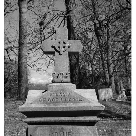 Canvas Print Graveyard Cemetery Headstone Gravestone Cross Stretched Canvas 10 x - Cross Gravestone