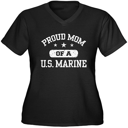 CafePress Women's Plus-Size Proud Marine Mom Graphic T-shirt