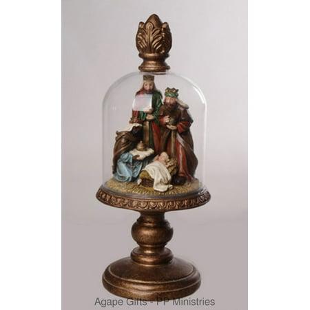 Stained Glass Nativity (Youngs Dome Glass Nativity - Elegant Wisemen Wiseman & Baby Jesus)