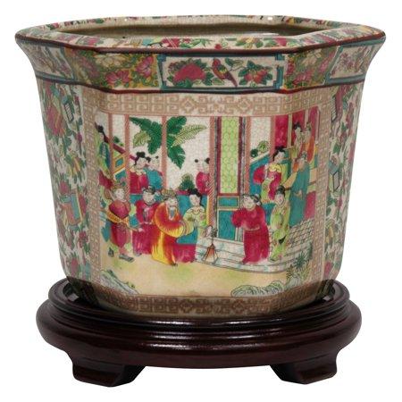 Oriental Furniture Rose Medallion Porcelain Flower Pot - Porcelain Pots