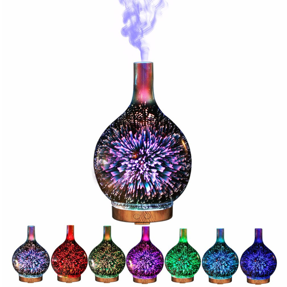iMeshbean 7 Color 3D Firework Glass Essential Oil Aroma Diffuser LED Ultrasonic Humidifier