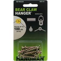 Hangman Double-Headed Bear Claw Hangers: 1 inch, 10 pack