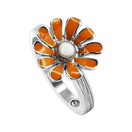 Enamel Flower Daisy - Gem Avenue 925 Sterling Silver Daisy Flower Orange and White Enamel Texture finish Ring