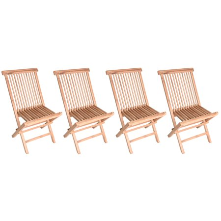 Zenvida Teak Wood Folding Patio Dining Chair Set of 4 (4 Chairs)