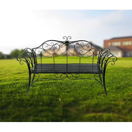 Antique Black Metal Garden Bench Chair 2 Seater for Garden, Yard, Patio, Porch and Sunroom ()