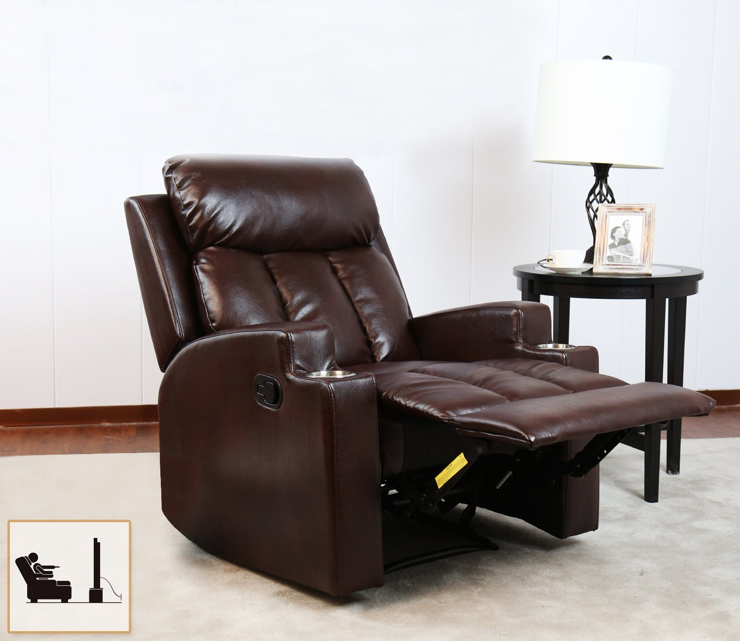 BONZY Recliner Chair Contemporary Theater Seating Two Cup Holder Brown  Leather Chairs For Modern Living Room